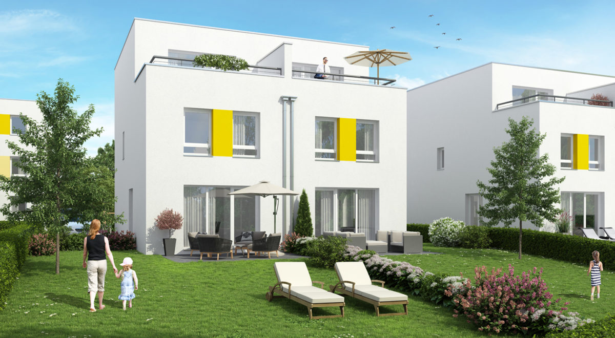Gartenansicht Doppelhaus